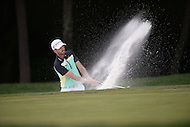 Gainesville, VA - August 2, 2015: Troy Merritt takes a shot from the bunker on hole 8 of the Quicken Loans National at the Robert Trent Jones Golf Club in Gainesville, VA, August 2, 2015. Merritt won the tournament at -18. This was Merritt's first major PGA Tour win.  (Photo by Don Baxter/Media Images International)
