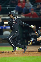Josh Stowers (25) of the Louisville Cardinals follows through on his swing against the Notre Dame Fighting Irish in Game Eight of the 2017 ACC Baseball Championship at Louisville Slugger Field on May 25, 2017 in Louisville, Kentucky. The Cardinals defeated the Fighting Irish 10-3. (Brian Westerholt/Four Seam Images)