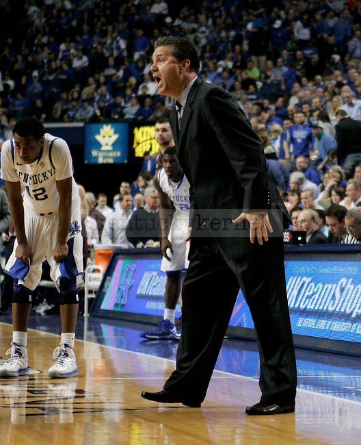 Coach Calipari yells at a reff during the first half of the Men's Basketball game vs. Texas A&M at the Rupp Arena in Lexington, Ky., on Saturday, January 12, 2013..