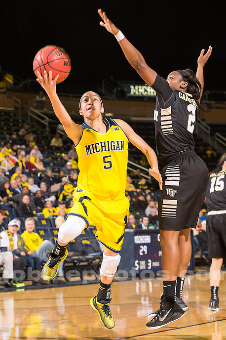 The University of Michigan women's basketball team defeated Wake Forest, 83-69, at Crisler Arena in Ann Arbor on Dec. 03, 2014.