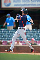 Rome Braves center fielder Drew Waters (11) follows through on a swing during a game against the Lexington Legends on May 23, 2018 at Whitaker Bank Ballpark in Lexington, Kentucky.  Rome defeated Lexington 4-1.  (Mike Janes/Four Seam Images)