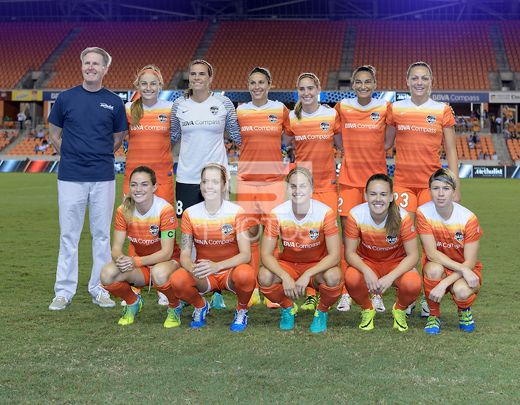 Houston, TX - Sunday Sept. 25, 2016: Houston Dash Starting XI prior to a regular season National Women's Soccer League (NWSL) match between the Houston Dash and the Seattle Reign FC at BBVA Compass Stadium.