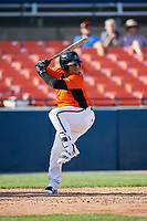 Frederick Keys designated hitter Wilson Garcia (50) at bat during the first game of a doubleheader against the Lynchburg Hillcats on June 12, 2018 at Nymeo Field at Harry Grove Stadium in Frederick, Maryland.  Frederick defeated Lynchburg 2-1.  (Mike Janes/Four Seam Images)