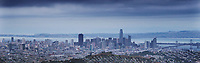 panoramic aerial photograph San Francisco, California skyline as a storm enters the Bay Area
