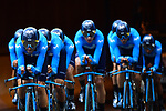 Movistar Team in action during Stage 2 of the 2019 Tour de France a Team Time Trial running 27.6km from Bruxelles Palais Royal to Brussel Atomium, Belgium. 7th July 2019.<br /> Picture: ASO/Pauline Ballet | Cyclefile<br /> All photos usage must carry mandatory copyright credit (© Cyclefile | ASO/Pauline Ballet)