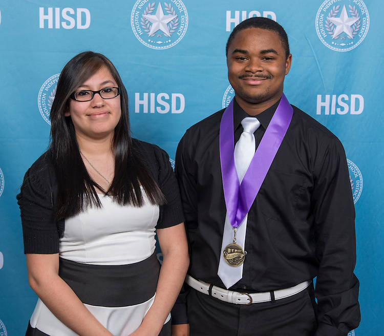 Houston ISD valedictorians and salutatorians pose for a photograph before the Scholars Banquet, April 30, 2014.