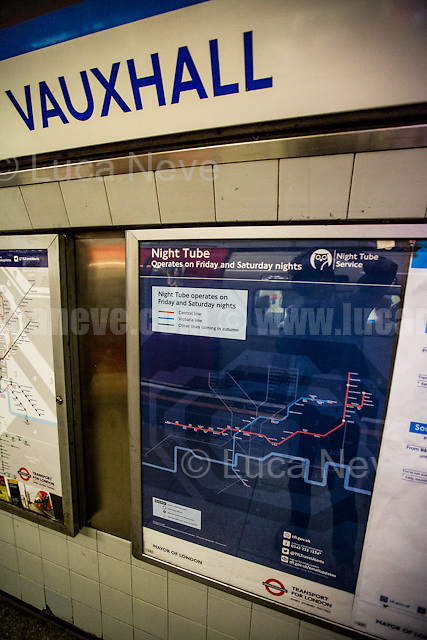 Vauxhall tube station.<br /> <br /> London, 19/08/2016. Tonight, Transport For London (TfL) launches for the first time in London's history the 24-hour tube service starting with Central and Victoria Lines (51 stations in total). The service comes a year later than planned by the former Mayor of London Boris Johnson (now British Foreign Secretary) due to several strikes held by TfL workers over pay and safety reasons. Jubilee, Northern and Piccadilly lines will follow in two separate phases later in the autumn as new Tube drivers (about 200 part-time drivers) will end their training. At the moment the trains run on average every 10 minutes and TfL charges standard off-peak fares for travelling on the Night Tube.<br /> <br /> For more information please click here: https://tfl.gov.uk/campaign/tube-improvements/what-we-are-doing/night-tube
