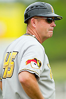 West Virginia Power manager Gary Robinson #45 coaches third base during the South Atlantic League game against the Kannapolis Intimidators at Fieldcrest Cannon Stadium on April 20, 2011 in Kannapolis, North Carolina.   Photo by Brian Westerholt / Four Seam Images