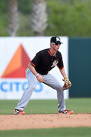 Miami Marlins second baseman J.T. Riddle (93) during a spring training game against the Houston Astros on March 21, 2014 at Osceola County Stadium in Kissimmee, Florida.  Miami defeated Houston 7-2.  (Mike Janes/Four Seam Images)