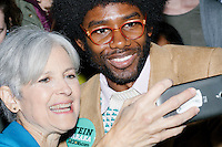 Khury Petersen-Smith, 34, of Boston, poses for a picture with Green Party presidential nominee Jill Stein after they both spoke at a campaign rally at Old South Church in Boston, Massachusetts, on Sun., Oct. 30, 2016. Petersen-Smith was at the event handing out information about the International Socialist Organization. He is a supporter of Jill Stein.