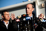 SAN BRUNO, CA - SEPTEMBER 10: PG&E President Chris Johns speaks at a press conference September 10, 2010 in San Bruno, California. A massive explosion rocked a neighborhood near San Francisco International Airport, destroying 37 homes, killing at least 4 people, and injuring at least 50.