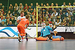 Leipzig, Germany, February 08: Robert Tigges #10 of The Netherlands scores a penalty corner during the men gold medal match between The Netherlands(orange) and Austria (white) on February 8, 2015 at the FIH Indoor Hockey World Cup at Arena Leipzig in Leipzig, Germany. Final score 3-2. (Photo by Dirk Markgraf / www.265-images.com) *** Local caption *** Robert Tigges #10 of The Netherlands, Mateusz Szymczyk #32 of Austria