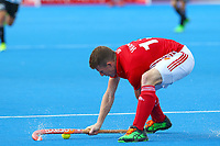 Sam Ward of England controls the ball during the Hockey World League Semi-Final match between England and Argentina at the Olympic Park, London, England on 18 June 2017. Photo by Steve McCarthy.