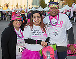Jackie Todd, Vanessa Mejia and Juan DeLaCruz during the Susan G. Koman Race for the Cure in Reno, Nevada on Sunday, October 15, 2017.