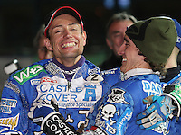 Magnus Zetterstrom and Chris Holder celebrate a Poole victory - Poole Pirates vs Lakeside Hammers, Elite League Grand Final 2nd leg at Wimborne Road, Poole - 13/10/08 - MANDATORY CREDIT: Rob Newell/TGSPHOTO