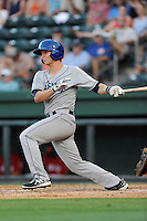 Designated hitter Ashley Graeter (6) of the Asheville Tourists bats in a game against the Greenville Drive on Tuesday, July 1, 2014, at Fluor Field at the West End in Greenville, South Carolina. Asheville won, 5-2. (Tom Priddy/Four Seam Images)