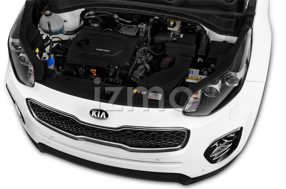 Car Stock 2016 KIA Sportage Sense 5 Door Suv Engine  high angle detail view