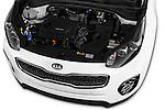 Car Stock 2016 KIA Sportage Sense 5 Door Suv Engine  high angle detail view