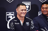 New Zealand Kiwis coach David Kidwell during a Rugby League World Cup press conference as Tawera Nikau looks on to annouunce the NZ Kiwis squad for the RLWC 2017. Auckland, New Zealand. Thursday 5 October 2017 © Copyright Photo: Andrew Cornaga / www.Photosport.nz copyright picture SWpix.com/Photosport NZ