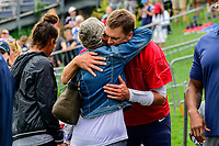 August 7, 2017: New England Patriots quarterback Tom Brady (12) hugs his mother Galynn Patricia Brady on the practice field at the New England Patriots training camp held at Gillette Stadium, in Foxborough, Massachusetts. Eric Canha/CSM