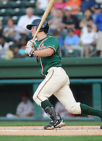 Infielder Mark Canha (31) of the Greensboro Grasshoppers, Class A affiliate of the Florida Marlins, in a game against the Greenville Drive on April 26, 2011, at Fluor Field at the West End in Greenville, South Carolina. (Tom Priddy/Four Seam Images)