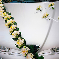 A limousine decorated for a wedding ceremony outside a church in Monasteraki..