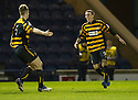 Alloa's Edward Ferns (9) celebrates after he scores their first goal.