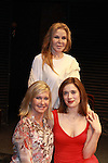 Author of Manipulation Victoria E. Calderson, Marina Squerciati pose with  Grammy Award Winning Olivia Newton-John after the performance of Manipulation on June 24, 2011 at the Cherry Lane Theatre, New York City, New York. (Photo by Sue Coflin/Max Photos)