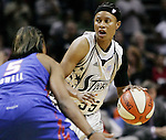 San Antonio's Vickie Johnson (55) looks to pass around Detroit's Elaine Powell (5) during Game 2 of the WNBA Finals between the Detroit Shock and the San Antonio Silver Stars, Oct. 3, 2008, at the AT&T Center in San Antonio. Detroit won 69 - 61 to go up 2 - 0 in the best-of-five series. (Darren Abate/pressphotointl.com)
