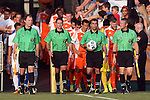 08 July 2015: Match officials. From left: Assistant Referee Jude Carr, Fourth Official Jeremy Smith, Referee Younes Marrakchi, and Assistant Referee Mark Buda. The Carolina RailHawks hosted the Fort Lauderdale Strikers at WakeMed Stadium in Cary, North Carolina in a North American Soccer League 2015 Fall Season match. The game ended in a 1-1 tie.