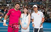 KEI NISHIKORI (JPN), STAN WAWRINKA (SUI)<br /> <br /> BRISBANE INTERNATIONAL, PAT RAFTER ARENA, BRISBANE TENNIS CENTRE, BRISBANE, QUEENSLAND, AUSTRALIA, ATP, WTA, Hard Court, Outside, Men's tennis, Women's tennis, Men's singles, women's singles, men's doubles, women's doubles.<br /> <br /> &copy; TENNIS PHOTO NETWORK