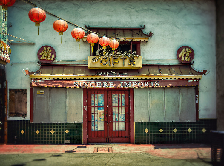 Street scene with Chinese gift store with lanterns