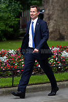 Jeremy Hunt MP (Secretary of State for Health).<br /> <br /> London, 12/06/2017. Today, Theresa May's reshuffled Cabinet met at 10 Downing Street after the General Election of the 8 June 2017. Philip Hammond MP - not present in the photos - was confirmed as Chancellor of the Exchequer. <br /> After 5 years of the Coalition Government (Conservatives &amp; Liberal Democrats) led by the Conservative Party leader David Cameron, and one year of David Cameron's Government (Who resigned after the Brexit victory at the EU Referendum held in 2016), British people voted in the following way: the Conservative Party gained 318 seats (42.4% - 13,667,213 votes &ndash; 12 seats less than 2015), Labour Party 262 seats (40,0% - 12,874,985 votes &ndash; 30 seats more then 2015); Scottish National Party, SNP 35 seats (3,0% - 977,569 votes &ndash; 21 seats less than 2015); Liberal Democrats 12 seats (7,4% - 2,371,772 votes &ndash; 4 seats more than 2015); Democratic Unionist Party 10 seats (0,9% - 292,316 votes &ndash; 2 seats more than 2015); Sinn Fein 7 seats (0,8% - 238,915 votes &ndash; 3 seats more than 2015); Plaid Cymru 4 seats (0,5% - 164,466 votes &ndash; 1 seat more than 2015); Green Party 1 seat (1,6% - 525,371votes &ndash; Same seat of 2015); UKIP 0 seat (1.8% - 593,852 votes); others 1 seat. <br /> The definitive turn out of the election was 68.7%, 2% higher than the 2015.<br /> <br /> For more info about the election result click here: http://bbc.in/2qVyNRd &amp; http://bit.ly/2s9ob51<br /> <br /> For more info about the Cabinet Ministers click here: https://goo.gl/wmRYRd