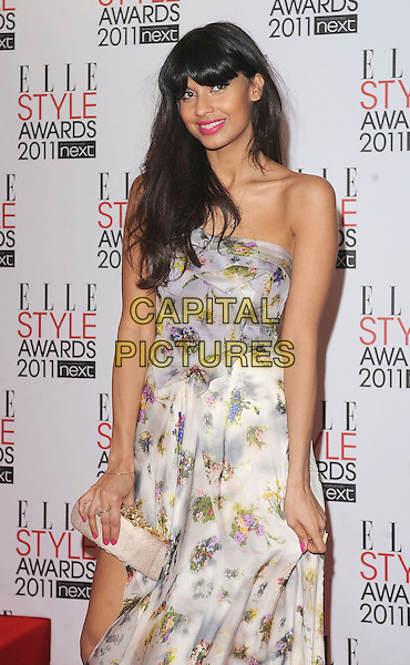JAMEELA JAMIL .2011 ELLE Style Awards at the Grand Connaught Rooms, London, England, UK, February 14th, 2011..half length white strapless maxi dress sheer grey gray yellow print clutch bag floral  .CAP/BEL.©Tom Belcher/Capital Pictures.