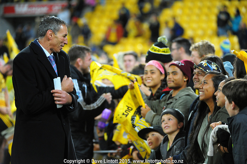Skysport presenter Ian Jones mingles with fans after the Super Rugby match between the Hurricanes and Rebels at Westpac Stadium, Wellington, New Zealand on Friday, 13 March 2015. Photo: Dave Lintott / lintottphoto.co.nz