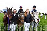 Lianne O'Sullivan, Vicky Holiday, Lauren McCarthy (Horseback) and Molly Collins (Horseback) enjoying the Killorglin horse and pony show on Sunday.