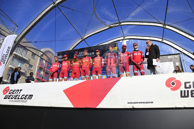 Team Katusha on stage at sign on before the start of Gent-Wevelgem in Flanders Fields 2017, running 249km from Denieze to Wevelgem, Flanders, Belgium. 26th March 2017.<br /> Picture: Eoin Clarke | Cyclefile<br /> <br /> <br /> All photos usage must carry mandatory copyright credit (&copy; Cyclefile | Eoin Clarke)