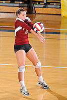 17 November 2011:  Denver outside hitter/defensive specialist Kate Acker (5) returns a serve in the second set as the FIU Golden Panthers defeated the Denver University Pioneers, 3-1 (25-21, 23-25, 25-21, 25-18), in the first round of the Sun Belt Conference Tournament at U.S Century Bank Arena in Miami, Florida.