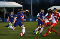 Conor Gallagher of Chelsea clears the ball upfield during Chelsea Under-19 vs AS Monaco Under-19, UEFA Youth League Football at the Cobham Training Ground on 19th February 2019