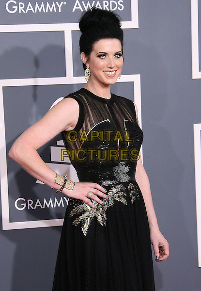 Thompson Square, Shawna Thompson.The 54th Annual GRAMMY Awards held at the Staples Center, Los Angeles, California, USA..February 12th, 2012.half length black dress hand on hip gold sheer.CAP/ADM.©AdMedia/Capital Pictures.