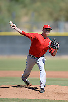 Los Angels Angels of Anaheim pitcher Michael Bolaski (58) during an instructional league game against the Colorado Rockies on September 30, 2013 at Tempe Diablo Stadium Complex in Tempe, Arizona.  (Mike Janes/Four Seam Images)