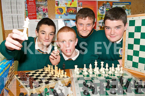 CHECKMATE: The Chess team from Killorglin Community College who won bronze medals at the All Ireland Colleges Chess Championships in Limerick on Thursday..L/r. James Corry (Killorglin), Barry Sheehan (Listry), Patrick Daly (Inch) and Jerome O'Connor (Killorglin).   Copyright Kerry's Eye 2008