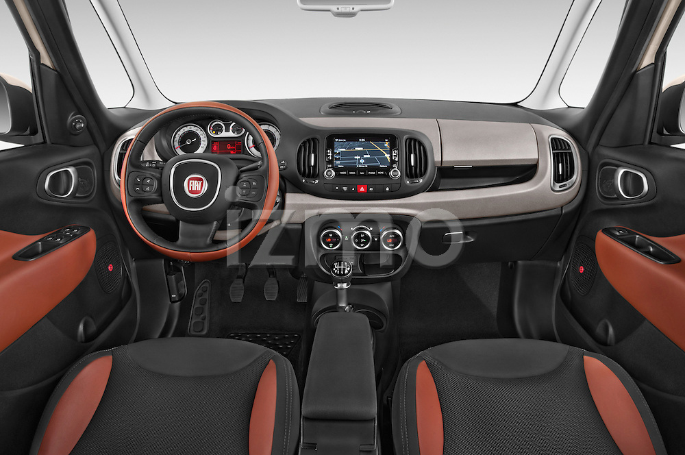 Stock photo of straight dashboard view of a 2014 Fiat 500L Trekking 5 Door Hatchback Dashboard