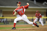 Batavia Muckdogs pitcher James Buckelew (8) delivers a pitch during a game against the Lowell Spinners on July 18, 2014 at Dwyer Stadium in Batavia, New York.  Lowell defeated Batavia 11-2.  (Mike Janes/Four Seam Images)