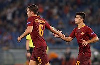 Calcio, Europa League: Roma vs Astra Giurgiu. Roma, stadio Olimpico, 29 settembre 2016.<br /> Roma&rsquo;s Kevin Strootman, left, celebrates with his teammate Diego Perotti after scoring during the Europa League Group E soccer match between Roma and Astra Giurgiu at Rome's Olympic stadium, 29 September 2016. Roma won 4-0.<br /> UPDATE IMAGES PRESS/Riccardo De Luca