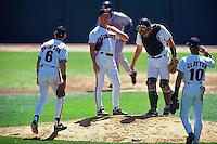 SAN FRANCISCO, CA - Bill Swift of the San Francisco Giants takes a break on the mound during a game against the Atlanta Braves on August 25, 1993 at Candlestick Park in San Francisco, California. (Photo by Brad Mangin)