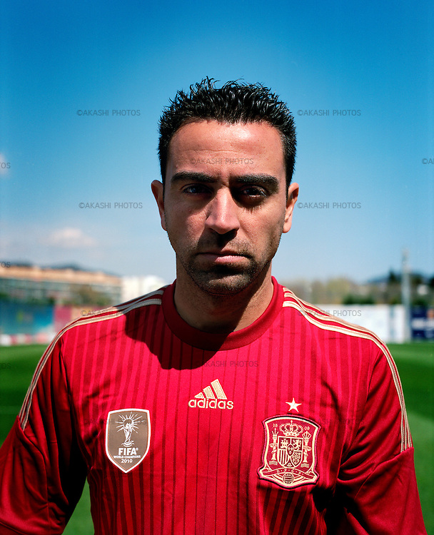 Xavi Hernandez, Catalan and Spanish football player of FC Barcelona, on Spanish selection Uniform before FIFA World Cup 2014.