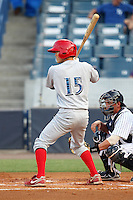 Clearwater Threshers Troy Hanzawa #15 at bat during a game against the Tampa Yankees at Steinbrenner Field on June 22, 2011 in Tampa, Florida.  The game was suspended due to rain in the 10th inning with a score of 2-2.  (Mike Janes/Four Seam Images)