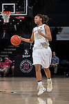 Ariel Stephenson (25) of the Wake Forest Demon Deacons brings the ball up the court during first half action against the Georgia Tech Yellow Jackets at the LJVM Coliseum on January 22, 2017 in Winston-Salem, North Carolina.  The Demon Deacons defeated the Yellow Jackets 70-65 in overtime.  (Brian Westerholt/Sports On Film)