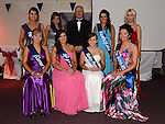 Margaret Landy, Roisin Butterly Emma Brennan, Phoebe McGrane, Shannon McConnoran, Megan Murphy, Byrne Ruth Cunningham and Sarah Sharkey who were constestants in the 'Rose of Dunleer' competition.pictured with host Gerry Kelly. Photo:Colin Bell/pressphotos.ie